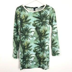 Ksubi palm tree print long sleeve t-shirt dress